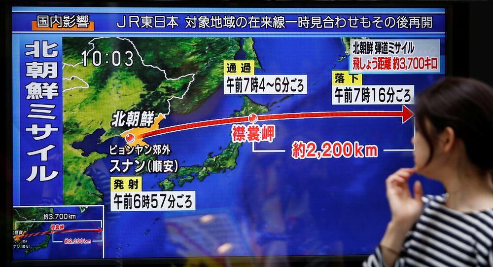 Une chaîne de télévision affichant le dernier tir de missile nord-coréen