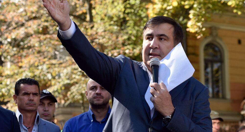 Michail Saakachvili lors d'un briefing devant le bâtiment de l'administration ukrainienne