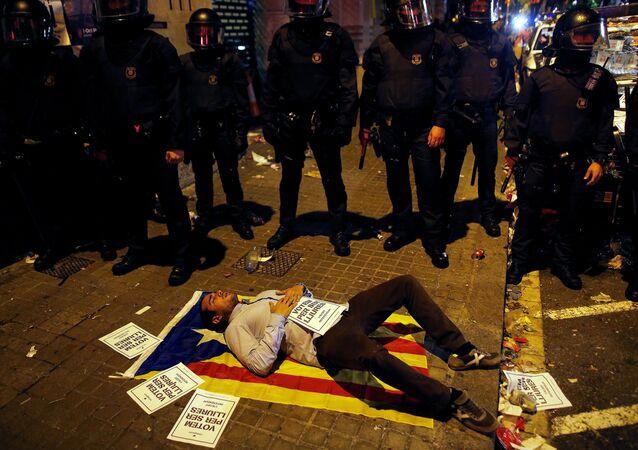 Un manifestant à Catalogne