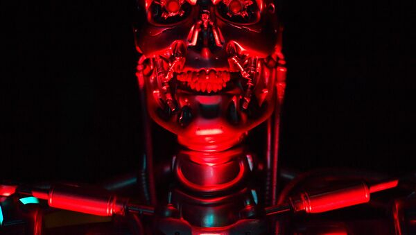A robot named 'T-800 Endoskeleton robot' used during the filming of Salvation, part of the US Terminator film franchise is on view at the ROBOT exhibition at the Science Museum in London on February 7, 2017. - Sputnik France