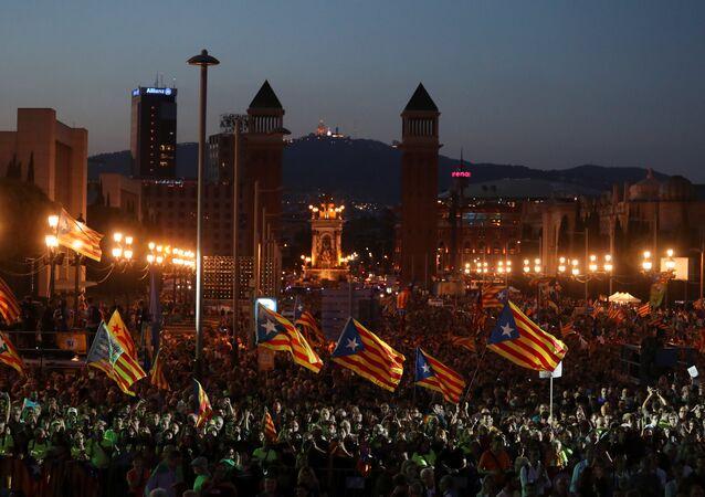 Une action en soutien au référendum catalan à Barcelone