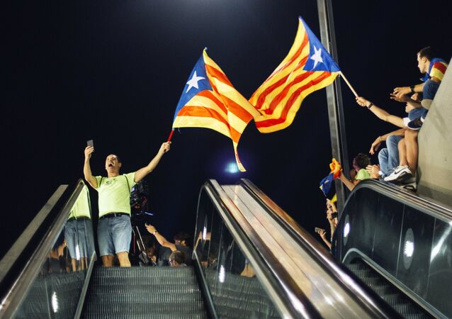 Une manifestation en faveur du référendum d'indépendance catalane à Barcelone