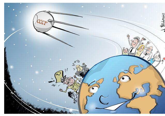 Le premier satellite artificiel de la Terre, Spoutnik 1