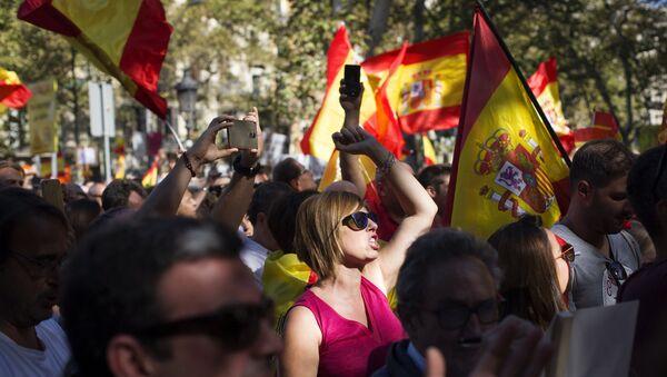 Manifestation pour l'unité de l'Espagne à Barcelone - Sputnik France