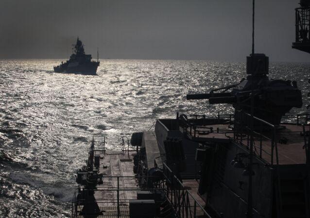 Navires de la Flottille russe de la Caspienne. Image d'illustration