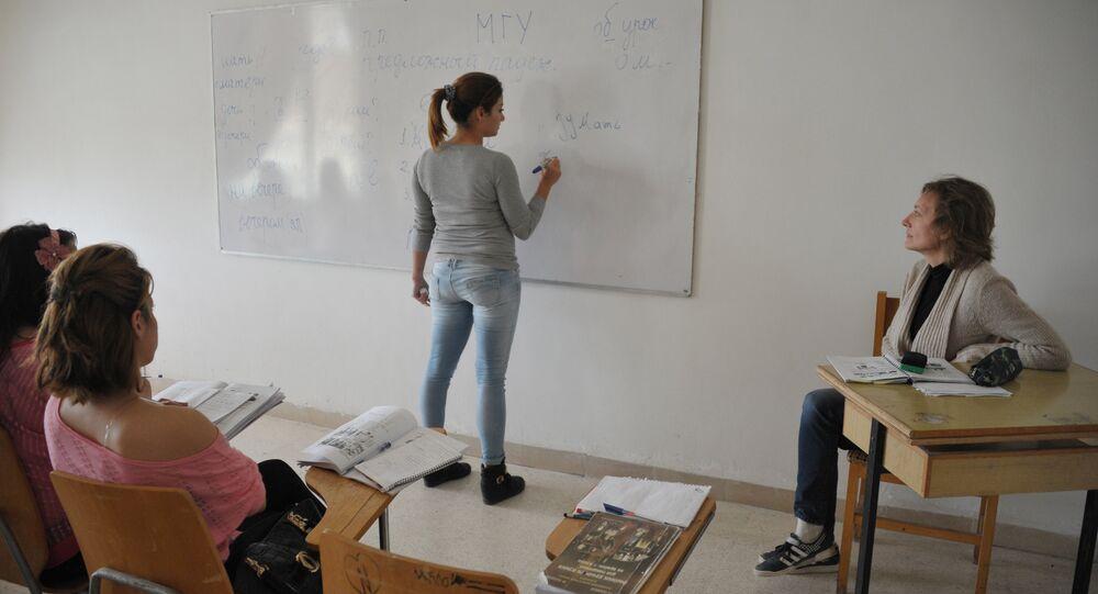 Cours de russe dans une université syrienne. Image d'illustration