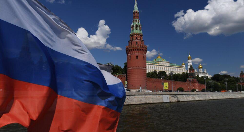 Le Kremlin de Moscou et le drapeau russe