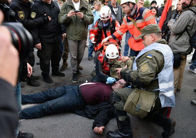La manifestation devant la Rada suprême à Kiev