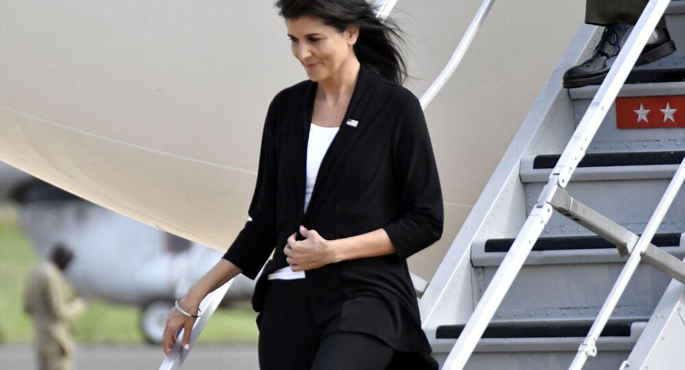 L'ambassadrice des USA auprès des Nations unies, Nikki Haley, en visite au Sud-Soudan