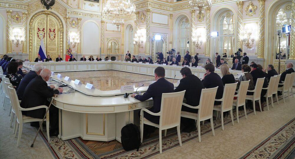 Президент РФ В. Путин провел встречу с членами Совета по развитию гражданского общества и правам человека