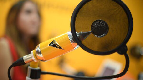 Микрофон в студии радио Sputnik в Экспофоруме на Санкт-Петербургском международном экономическом форуме 2017. - Sputnik France