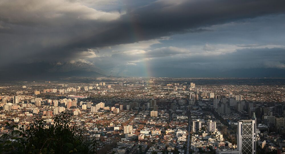 A view of the Chilean capital from San Cristobal Hill