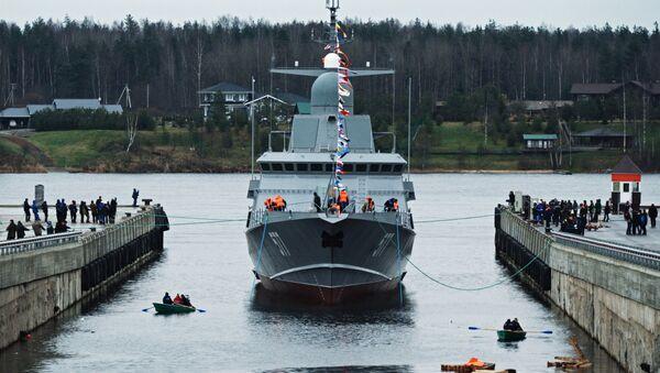 La mise à l'eau de la corvette Taïfoun du projet 22800 - Sputnik France