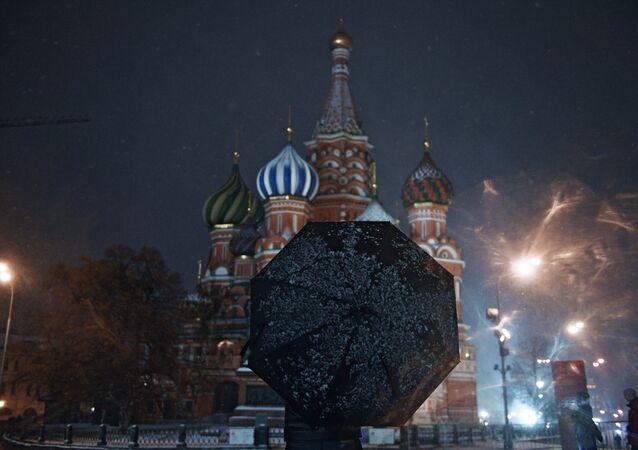 Chute de neige à Moscou