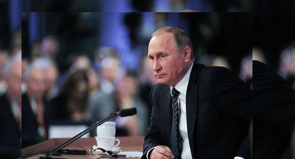 19 октября 2017. Президент РФ Владимир Путин выступает на итоговой пленарной сессии XIV ежегодного заседания Международного дискуссионного клуба Валдай на тему: Мир будущего: через столкновение к гармонии.