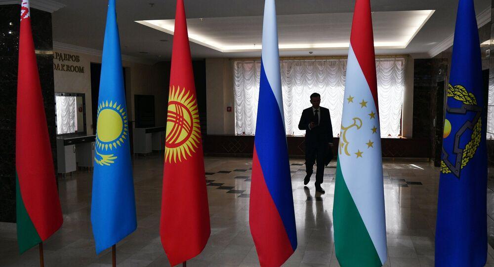 Les drapeaux des pays membres de l'Organisation du traité de sécurité collective (OTSC)
