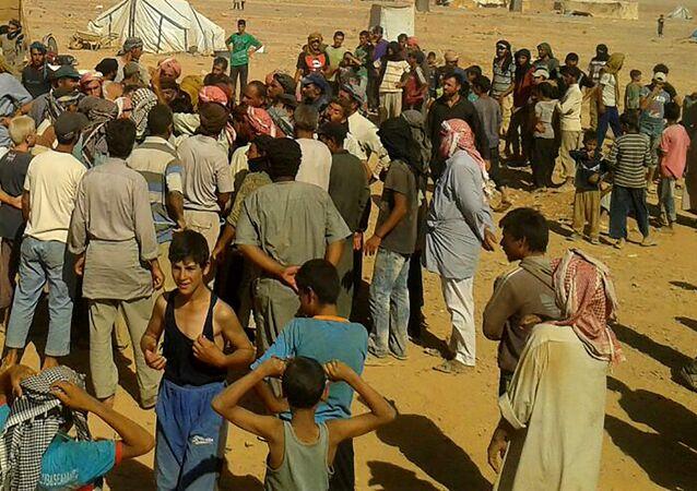Les réfugiés du camp syrien d'Al-Roukban le 4 août 2016