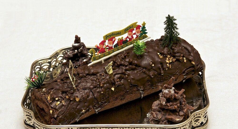 Une bûche de Noël, image d'illustration