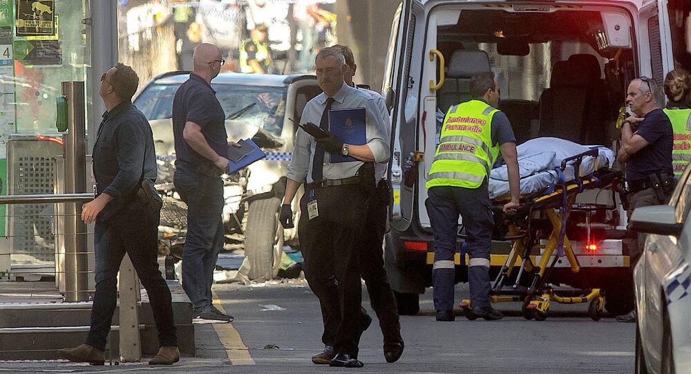 La police et les médecins de Melbourne sur les lieux de l'incident (21 décembre 2017)