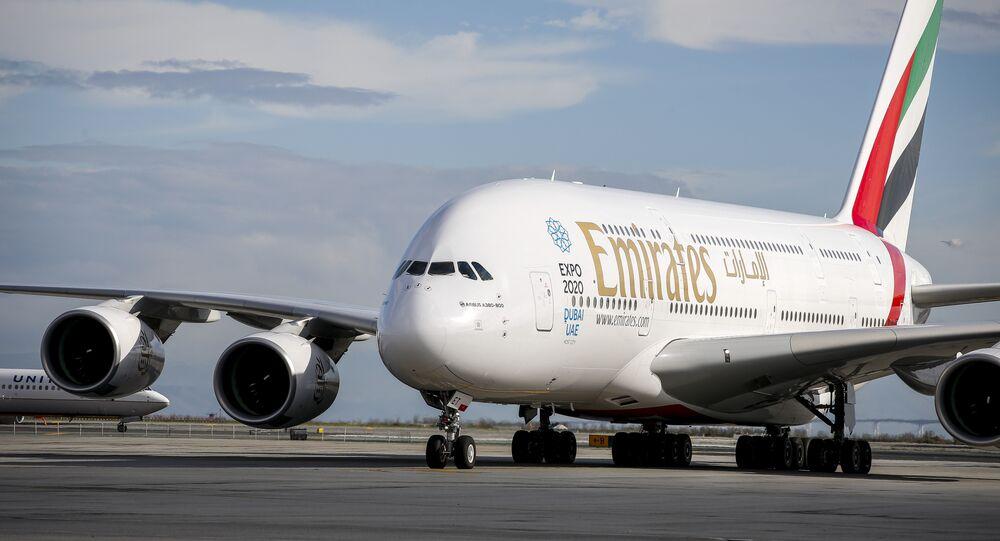 Un avion A380 appartenant à la compagnie aérienne Emirates