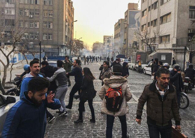 Protestations à Téhéran, décembre 2017