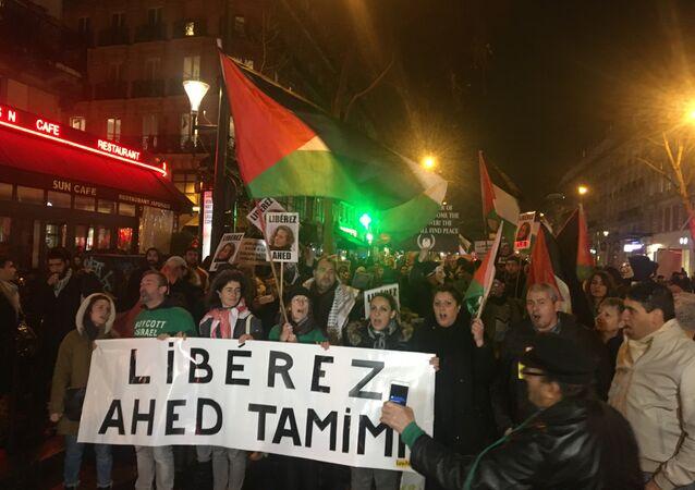Manifestation pour la libération des enfants palestiniens à Paris
