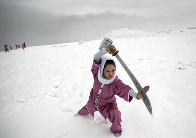 entraînement d'une étudiante Shaolin