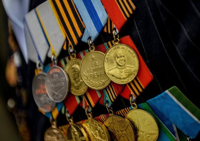 Médailles d'un vétéran de la Seconde Guerre mondiale, image d'illustration
