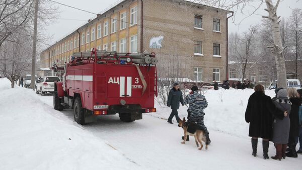 A view shows a local school after reportedly several unidentified people wearing masks injured schoolchildren with knives in the city of Perm, Russia January 15, 2018 - Sputnik France