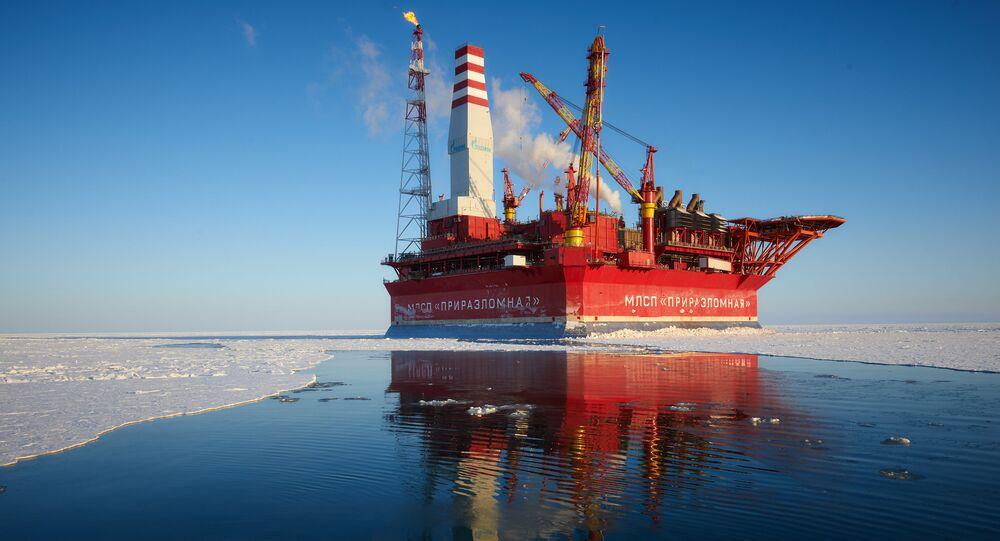 La plate-forme russe Prirazlomnaya en Arctique