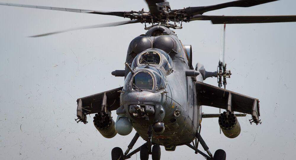 Mi-35M helicopters on training flights in Krasnodar Territory