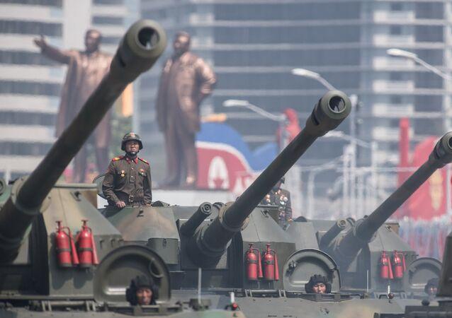 Un défilé militaire à Pyongyang, image d'illustration