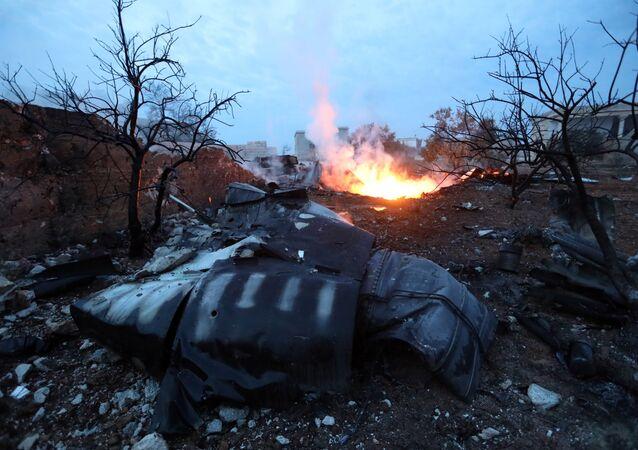 Le lieu de crash du Su-25 abattu en Syrie le 3 février 2017