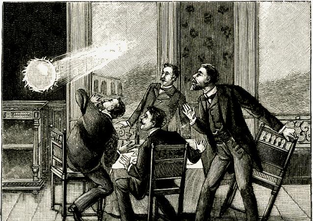 Gravure du XIXe siècle illustrant le phénomène de foudre en boule.