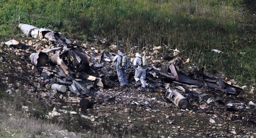 Les premières images du F-16 israélien abattu par la DCA syrienne