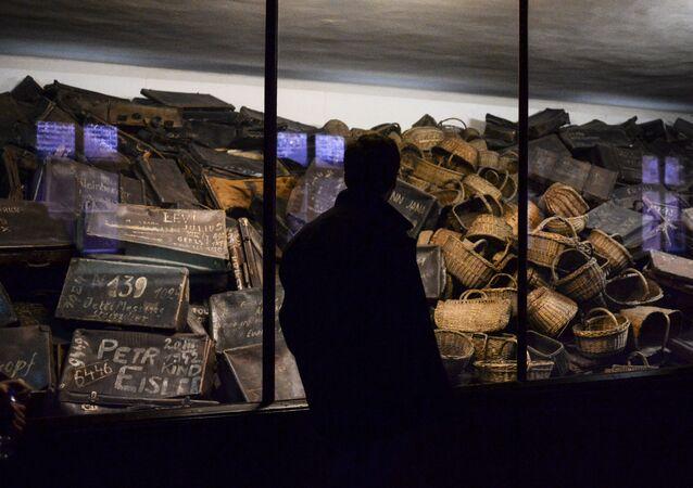 Un visiteur du musée créé sur le territoire de l'ancien camp de concentration d'Auschwitz-Birkenau à Auschwitz.