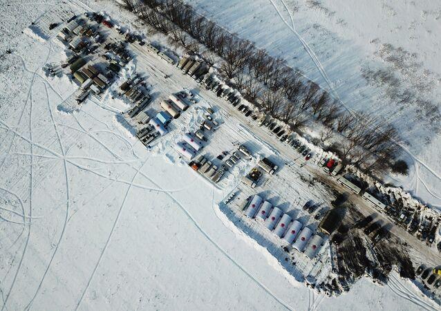 Camp des secouristes sur les lieux du crash de l'An-148