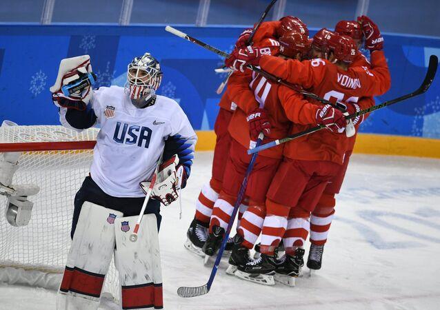 Jeux olympiques de 2018, l'équipe russe VS équipe US, hockey sur glace