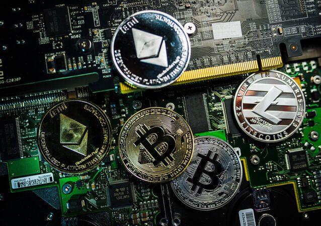 Logos du bitcoin, Litecoin et Ethereum