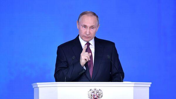 Vladimir Putine lors du message à l'Assemblée fédérale le 1er mars 2018 - Sputnik France