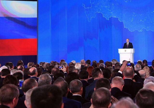 Vladimir Poutine lors du message annuel à l'Assemblée fédérale