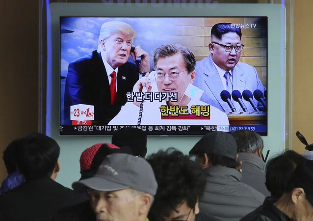 Donald Trump, Moon Jae-in et Kim Jong-un