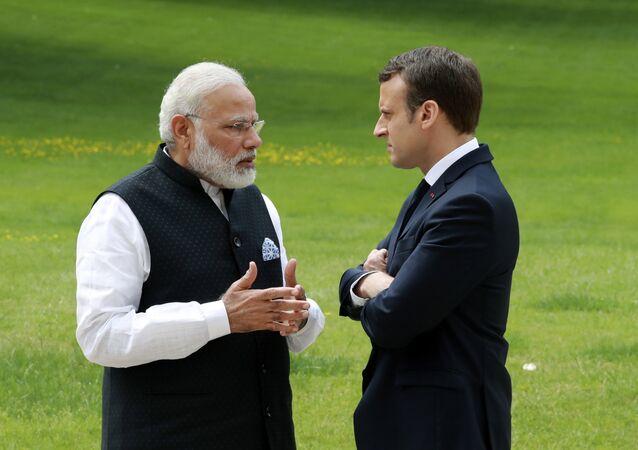 Emmanuel Macron et Narendra Modi. Photo d'archive