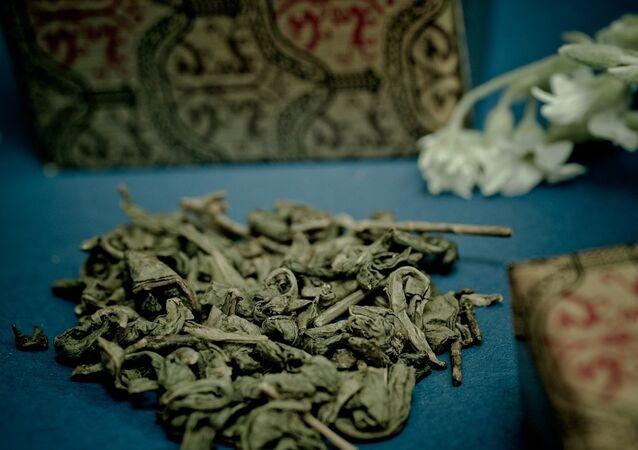 Des feuilles de thé vert