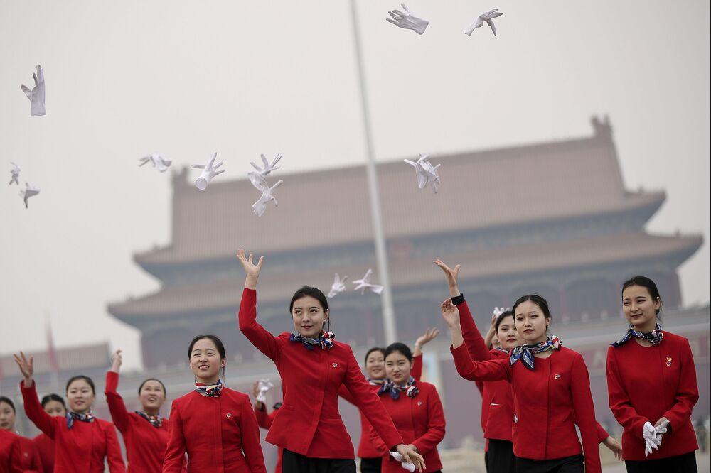 Hôtesses de la session de l'Assemblée nationale populaire de Chine