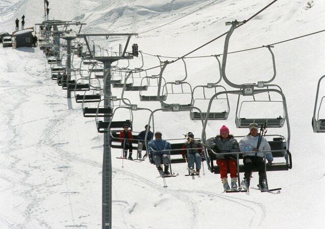 Une remontée mécanique à Goudaouri, dans le Caucase