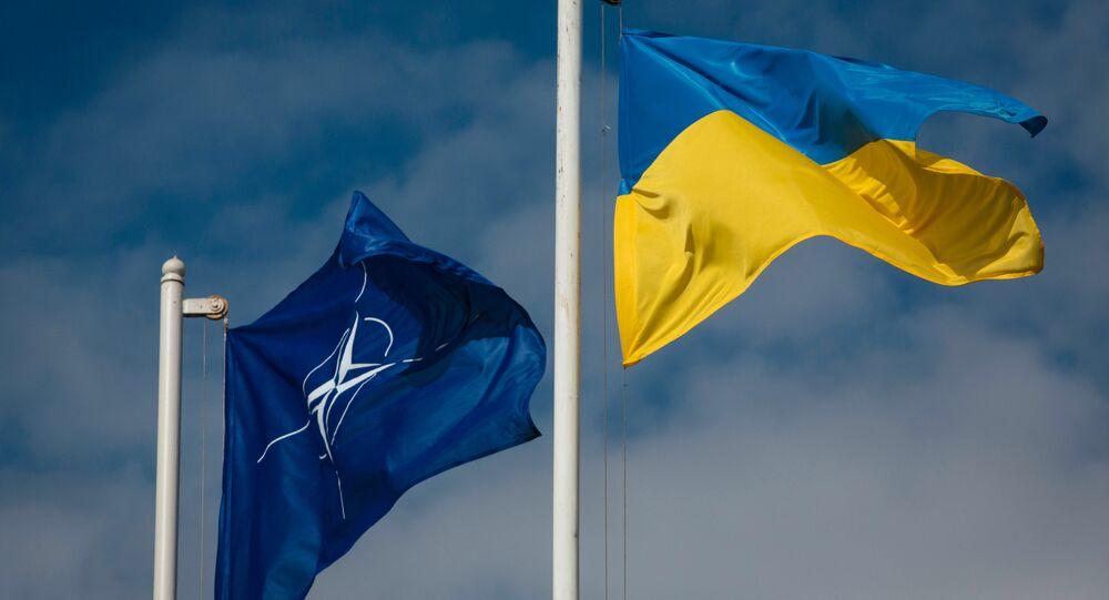 Les drapeaux de l'Otan et de l'Ukraine