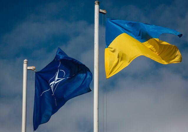Drapeau national de l'Ukraine et le drapeau de l'OTAN.