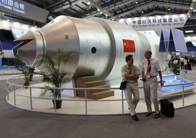 Une maquette de la station spatiale chinoise Tiangong 1
