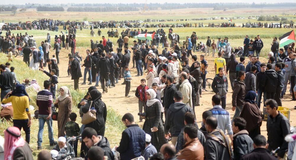 Des Palestiniens lors de l'action de protestation à la frontière de la Bande de Gaza et Israël (archives photo)